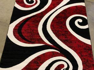 Avalon Rug in Red White Black