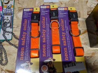 3  NEON SAFETY DOG COllARS
