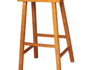 29  Saddle Seat Counter Height Barstool Rustic Oak   International Concepts