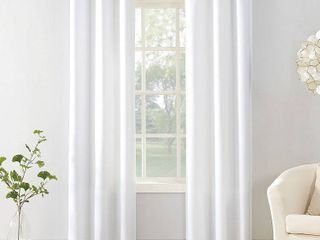 95 x40  Sora Casual Textured light Filtering Grommet Top Curtain Panel White   No  918
