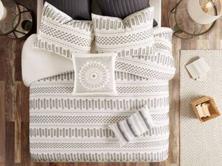 3pc Full Queen Rhea Cotton Duvet Cover Mini Set Ivory Charcoal