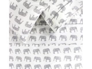 Twin   3 Piece  Printed Design Cotton Collection 400 Thread Count Grey Elephants Embroidered Sheet Set