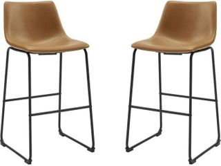 Walker Edison CHl30WB Whiskey Brown 30  Industrial Faux leather Barstool   Set of 2