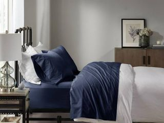 Full Solid Peached 100  Cotton Percale Sheet Set Navy