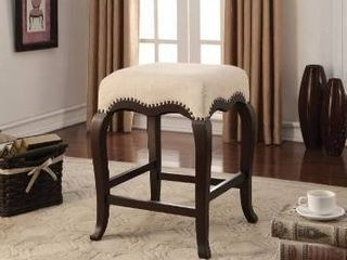 Gracewood Hollow linden Cream Fabric Counter height Stool with Espresso finished Wood legs