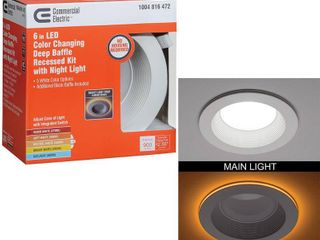 Commercial Electric 6 in  Canless Selectable Integrated lED Recessed Trim with Night light Downlight 900 lumens Dimmable
