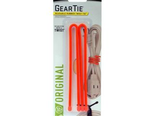 Nite Ize Gear Tie Reusable Rubber Twist 12 Tie Bright Orange  2pk   qty2