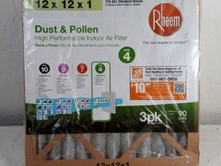 12 In  X 12 In  Basic Household Pleated Fpr 4 Air Filters