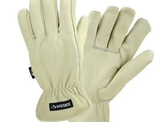 Husky oversize Water Resistant leather Work Glove   Medium  Beige