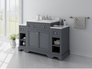 Mornington 54 in  W x 21 in  D Single Bath Vanity in Grey with Marble Vanity Top in White with White Sink