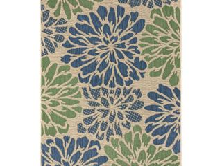 JONATHAN Y Zinnia Modern Floral Navy Green 7 ft  9 in  x 10 ft  Textured Weave Indoor Outdoor Area Rug