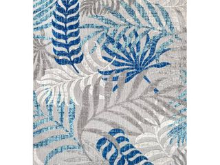 JONATHAN Y Tropics Palm leaves Gray Blue Indoor Outdoor 8 ft  x 10 ft  Area Rug
