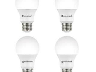 EcoSmart 100 Watt Equivalent A19 Non Dimmable lED light Bulb Daylight  4 Pack