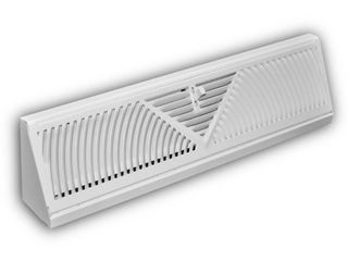 Everbilt 18 in  3 Way Steel Baseboard Diffuser Supply in White  Powder Coat White