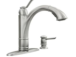Moen Walden Spot resist stainless Microban one handle low arc pullout kitchen faucet Moen 87045MSRS