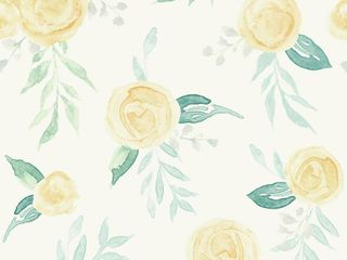 RoomMates Watercolor Roses Magnolia Home Wallpaper Yellow