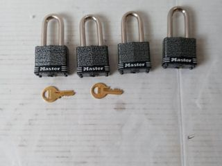 Masterlock Set Of 4 Keyed Open 380qlff tough Under Fire locks