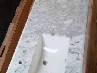 Natural Marble Vanity Top ONlY in White with Double White Sink