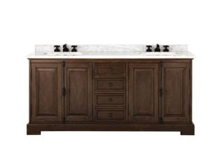 Home Decorators Collection Clinton 72 in  W Double Vanity in Antique Coffee with Natural Marble Vanity Top in White with White Sink