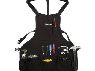 Husky 23 5 in  16 Pocket Black Canvas Bib Apron