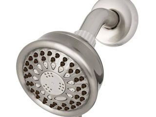 Waterpik 5 Spray 3 8 in  Single Wall Mount low Flow Fixed Shower Head in Brushed Nickel