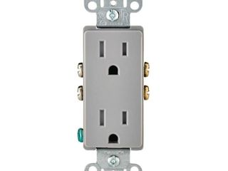 leviton Decora 15 amps 125 volt Duplex Gray Outlet 5 15R Qty  1