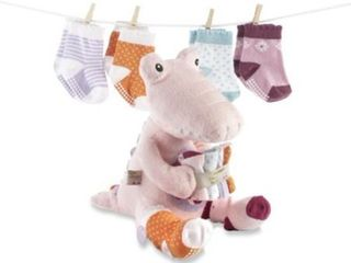Baby Aspen Croc in Socks Plush Toy and Baby Socks Gift Set  Pink