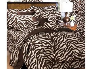 Brown Zebra Print Bed In A Bag Set  Xl Twin