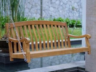 Cambridge Casual Sherwood Teak Porch Swing with Stainless Steel Chain   Retail  296 49