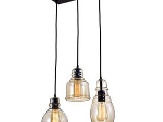 Mariana 3 light Cognac Glass Cluster Pendant in Antique Black Finish  Retail 104 99