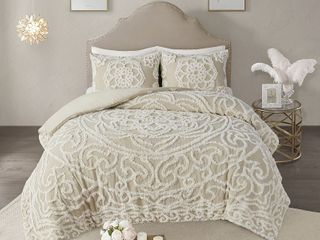 Madison Park Virginia Tufted Cotton Chenille Medallion Duvet Cover Set  Retail 119 98  ONlY 1 PIllOW SHAM