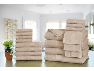 Ample Decor Premium Cotton 18 Pc Towels  4 Bath  4 Hand  10 Wash Cloths Beige  Retail  67 99