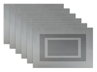 Design Imports Silver Doubleframe PVC Kitchen Placemat Set  Set of 6  RETAIl  25 47