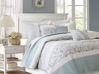 Madison Park Vanessa Cotton Percale 6 Piece Reversible Coverlet Set Full Queen  Retail 102 49