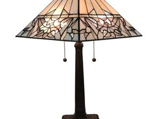 Amora Tiffany Style Table lamp Mission 22  Stained Glass  Retail  115 99