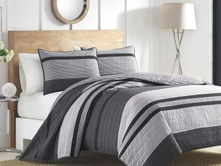 Nautica Vessey Cotton Pieced Quilt Grey Full Queen   Retail 119 98