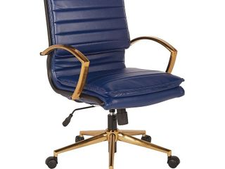 OSP Home Furnishings Gold Base Mid back Faux leather Office Chair  Retail 258 99