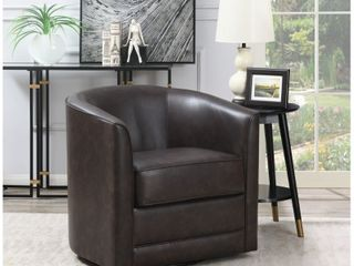 Copper Grove Domenic Contemporary Upholstered Swivel Accent Chair Dark Brown  Retail 424 49