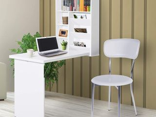 HomCom Fold Out Convertible Wall Mount Desk  Retail 119 99