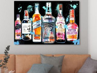 Oliver Gal  Drink it Colorful  Drinks and Spirits Wall Art Canvas Print liquor  Retail 168 99