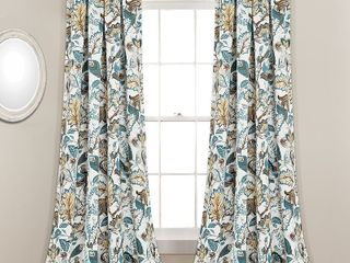 lush Decor Cynthia Jacobean Room Darkening Curtain Panel Pair 52  x 84   Retail  59 49
