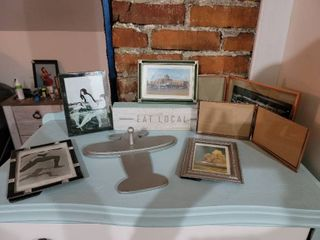 lot of Home Decor   6 Frames  Airplane Hook  and Eat local Block Sign