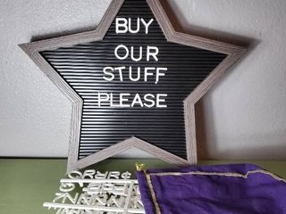 Cute Star Shaped Message Board with letters in Crown Royal Bag