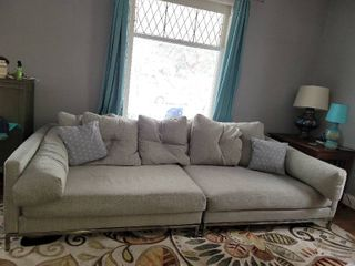NFM light Grey Canvas Cuddler Chaise Couch w  Accent Pillows