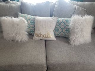 lot of Five Decorative Pillows  Whale Exhale  White Furry Pillows  Blue and White Pillows