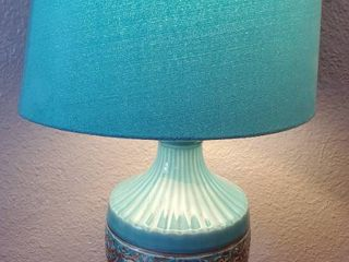 Ceramic Teal and Gilded lamp with Teal lampshade  Tested and Working