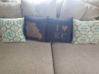 lot of Four Pillows  Two Blue and Good KC Pillows  And Two White and Blue