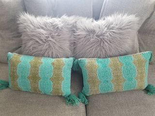 lot of Four Pillows  Two Gray Furry Pillows and Two Rectangular