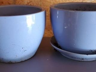 lot if 2 large Coffee Cup Planters  1 with lower Water Tray