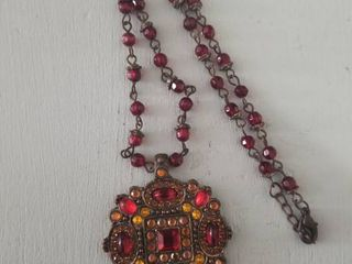 Red and Orange Jeweled Necklace